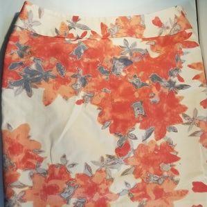 Halogen Women's Skirt SZ 12 cream and orange